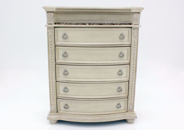Antique White Stanley Chest of Drawers Facing Front   Home Furniture Plus Mattress