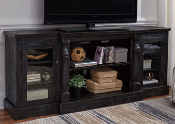 Distressed Black Mallacar TV Stand by Ashley Furniture in Room Setting | Home Furniture Plus Mattress