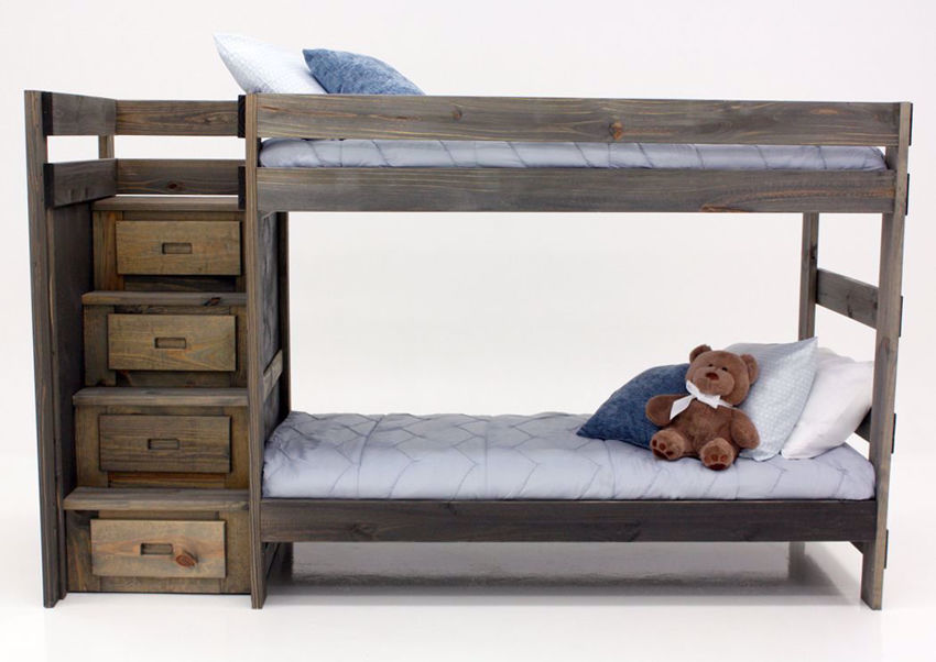 Brown Duncan Twin & Twin Staircase Bunk Bed Facing Front | Home Furniture Plus Mattress