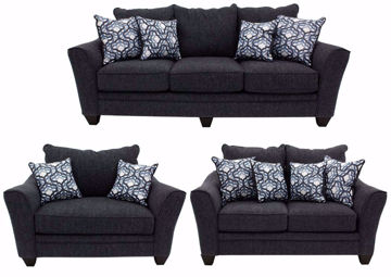 Dark Blue Dante Sofa Set by American Furniture Manufacturing Includes Sofa, Loveseat and Chair | Home Furniture + Mattress