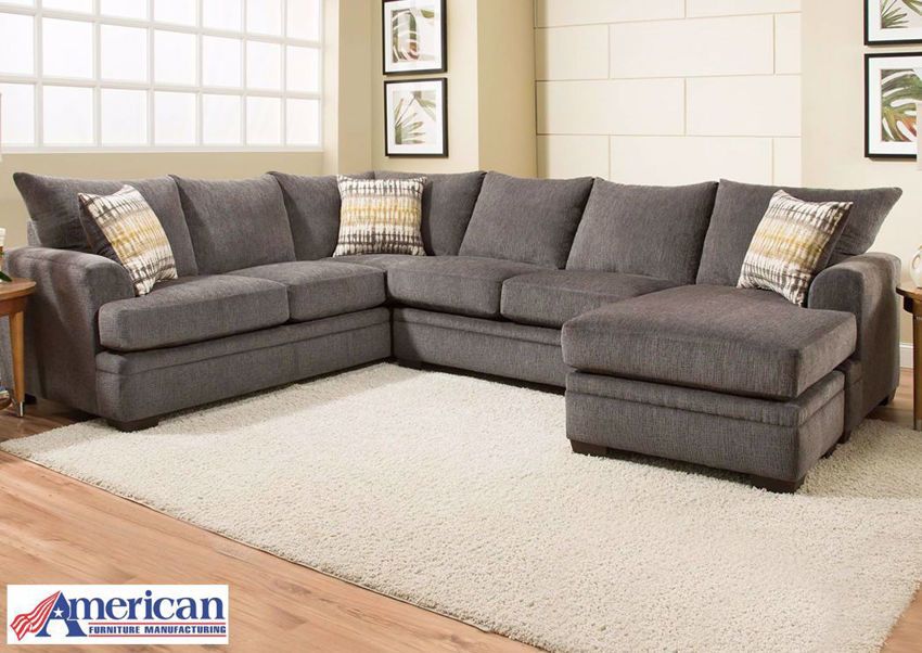 Dark Gray Perth Sectional Sofa with Chaise in a Room Setting | Home Furniture Plus Mattress