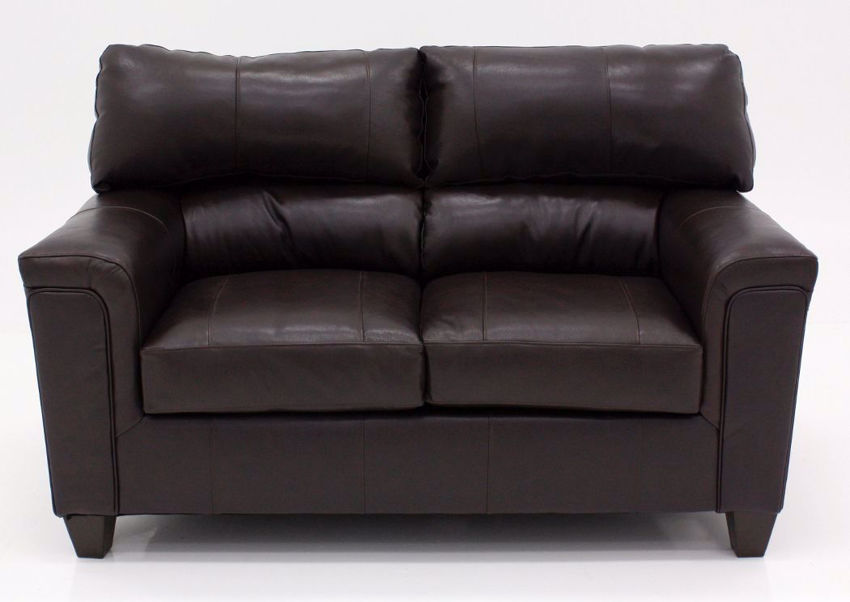 Dark Brown Soft Touch Loveseat, Front Facing | Home Furniture Plus Bedding