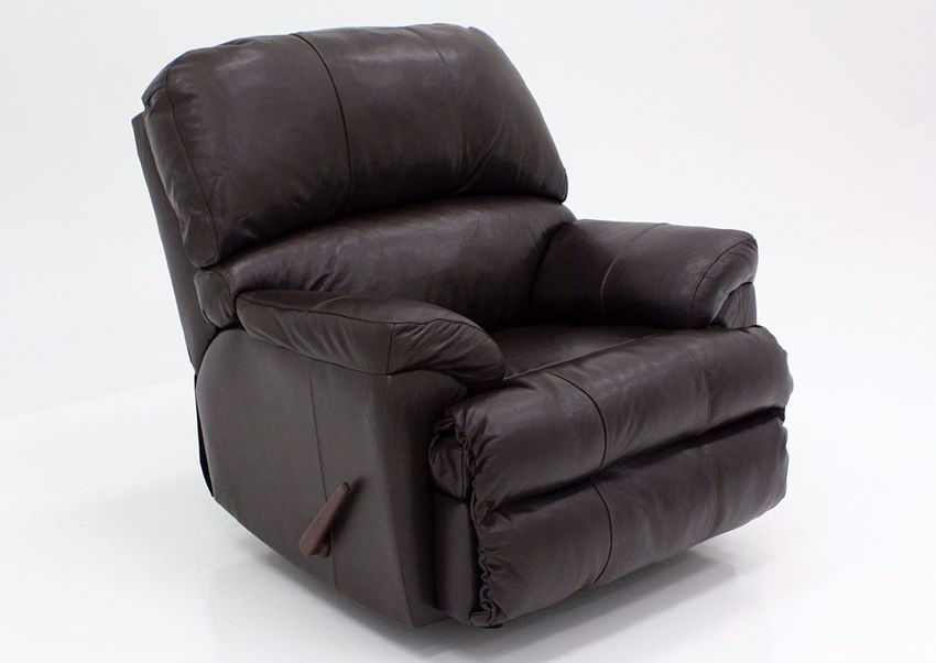Dark Brown Soft Touch Recliner at an Angle | Home Furniture Plus Bedding