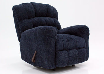Blue Eastwood Rocker Recliner at an Angle | Home Furniture Plus Mattress