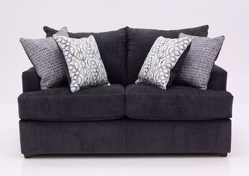 Charcoal Gray Stephenson Loveseat by Lane Facing Front   Home Furniture Plus Bedding