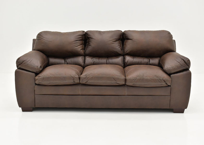 Bolton Sofa by Simmons Upholstery covered in Brown Microfiber upholstery | Home Furniture + Mattress