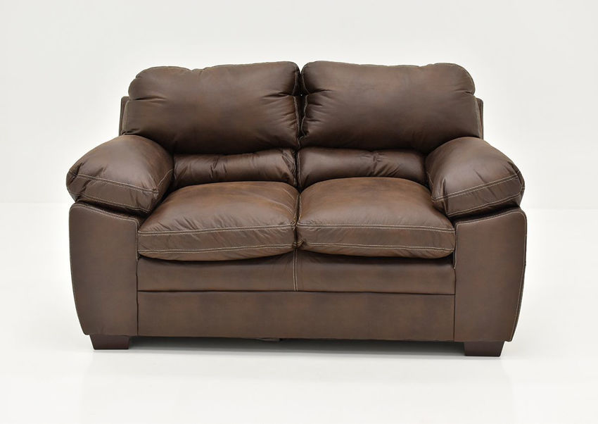 Brown Bolton Loveseat by Simmons Upholstery, Front Facing | Home Furniture + Mattress