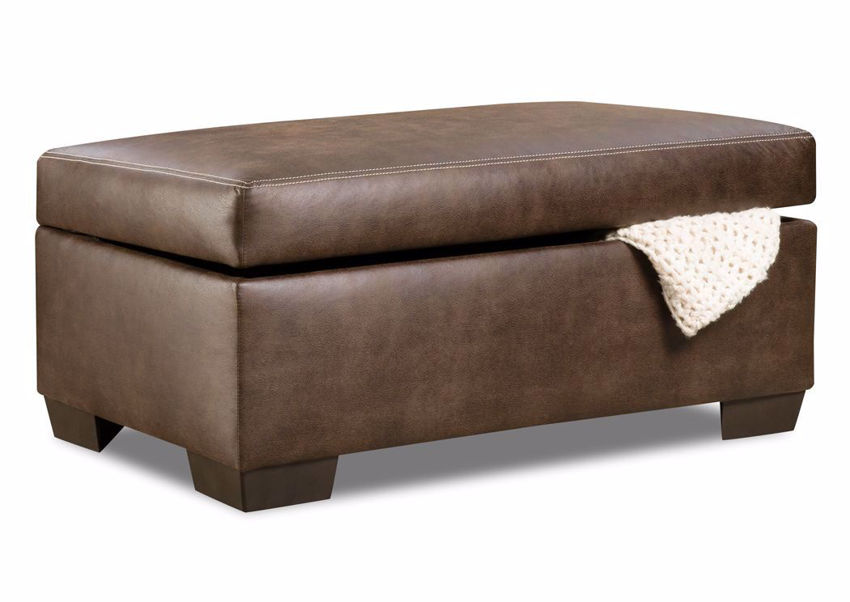 Bolton Storage Ottoman, Brown, Angle | Home Furniture Plus Mattress