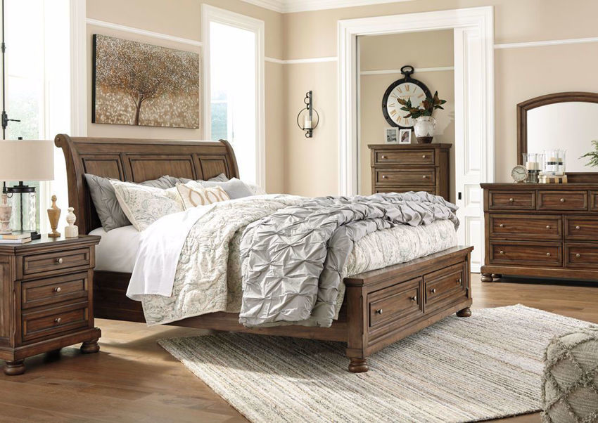 Flynnter Bedroom Set by Ashley with a Warm Brown Finish | Home Furniture Plus Bedding