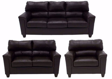 Soft Touch Sofa Set by Simmons Upholstery Covered in a Dark Brown Top Grain Leather. Includes Sofa, Loveseat and Chair | Home Furniture + Mattress