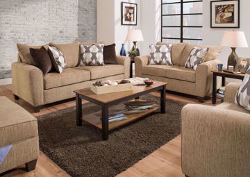 Reed Sofa Set, Light Brown Upholstery | Home Furniture Plus Bedding