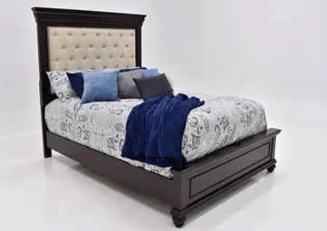 Dark Brown Brynhurst Upholstered Queen Size Bed by Ashley Furniture at an Angle | Home Furniture Plus Mattress