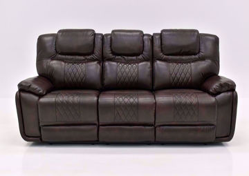 Brown Bentley Power Reclining Sofa by Zoy Facing Front | Home Furniture Plus Mattress