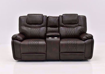 Brown Bentley Power Reclining Loveseat by Zoy Facing Front | Home Furniture Plus Bedding