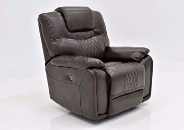 Brown Bentley Power Recliner by Zoy at an Angle | Home Furniture Plus Mattress