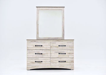 Rustic White Jourdan Creek Dresser with Mirror by Kith Facing Front | Home Furniture Plus Mattress