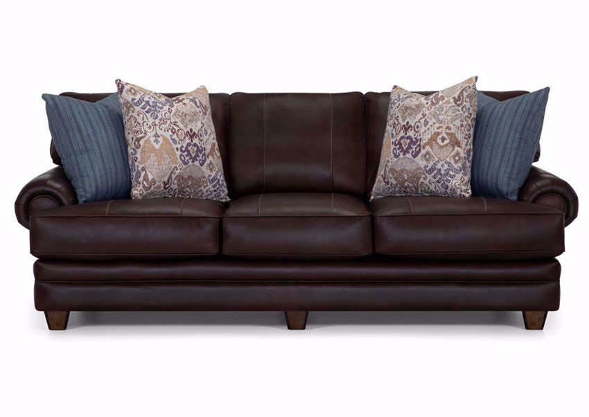 Brown Leather Monaco Sofa by Franklin Furniture Showing a Front View | Made in the USA | Home Furniture Plus Bedding
