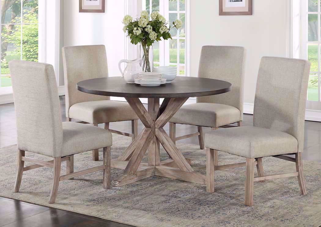 Picture of: Jefferson 5 Piece Round Dining Table Set Brown Home Furniture Plus Bedding
