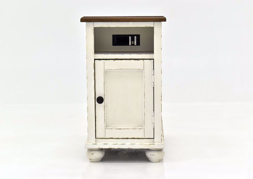 Distressed White Realyn Casual Chair Side Table by Ashley Furniture Facing Front   Home Furniture Plus Mattress