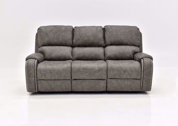 Warm Gray Clayton Reclining Sofa by Standard Facing Front | Home Furniture Plus Mattress