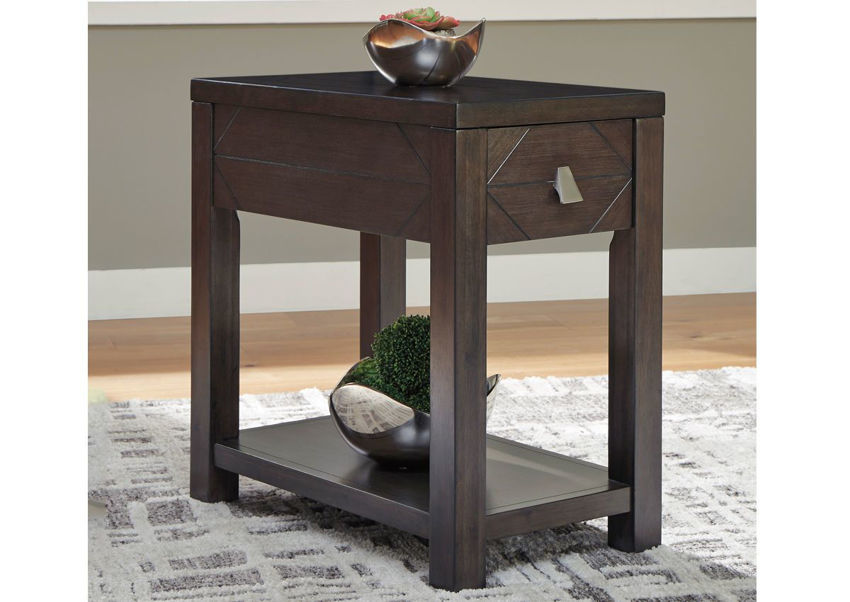 Dark Espresso Brown Tariland Chairside Table by Ashley Furniture Showing the Room Setting | Home Furniture Plus Bedding