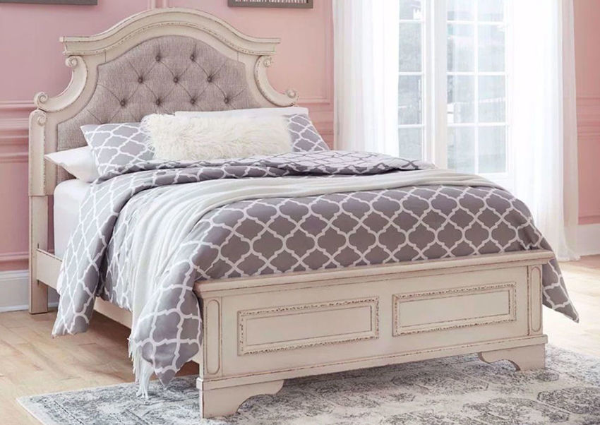 Antique White Realyn Upholstered Full Bed by Ashley Furniture in a Room Setting | Home Furniture Plus Mattress
