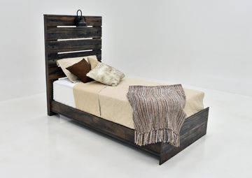 Rustic Brown Drystan Twin Size Bed by Ashley Furniture at an Angle | Home Furniture Plus Mattress