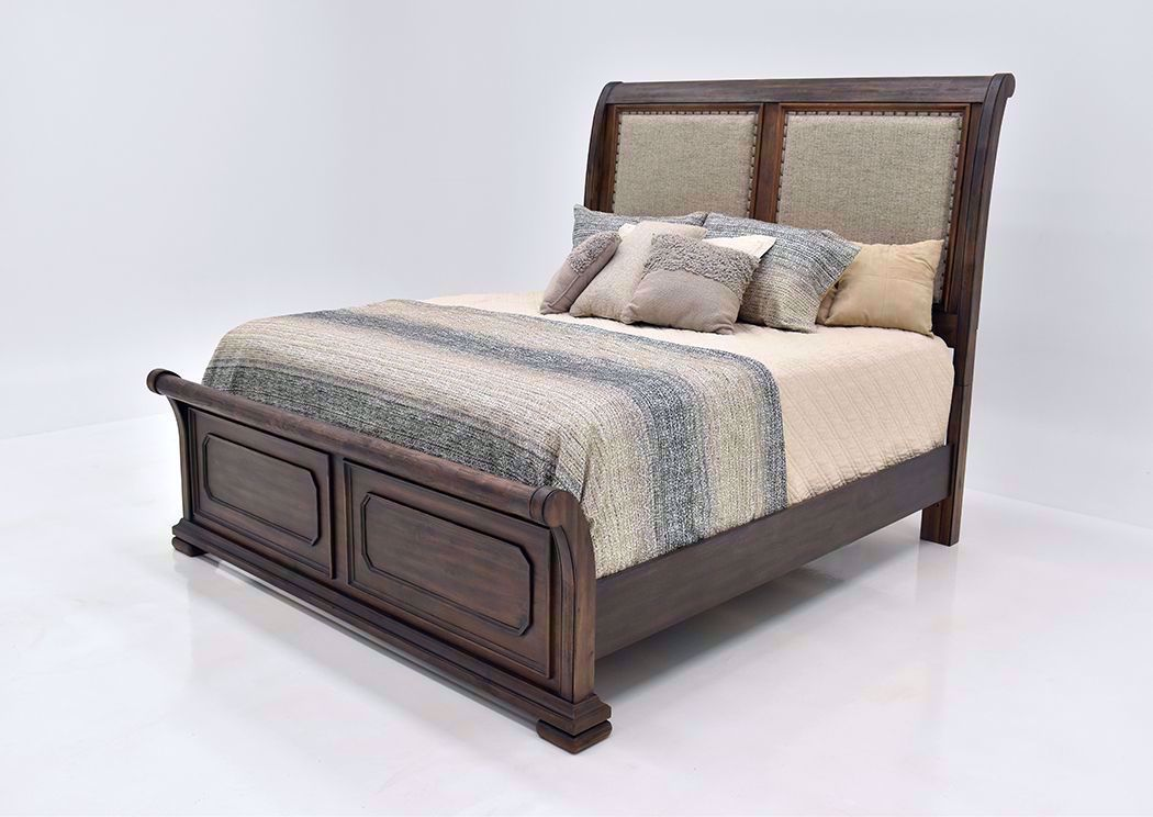 Casa Grande King Size Upholstered Sleigh Bed Brown Home Furniture Plus Bedding