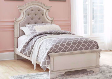 Antique White Realyn Upholstered Twin Bed by Ashley Furniture  Showing the Room Setting | Home Furniture Plus Mattress