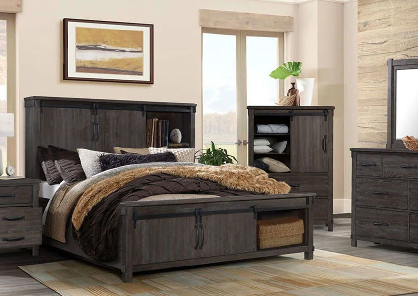 Dark Brown Scott Storage Bedroom Set by Elements Showing a Room Setting | Home Furniture Plus Mattress
