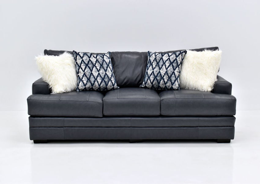 Navy Blue Sedona Leather Sofa by Franklin Furniture Showing the Front View, Made in the USA | Home Furniture Plus Bedding