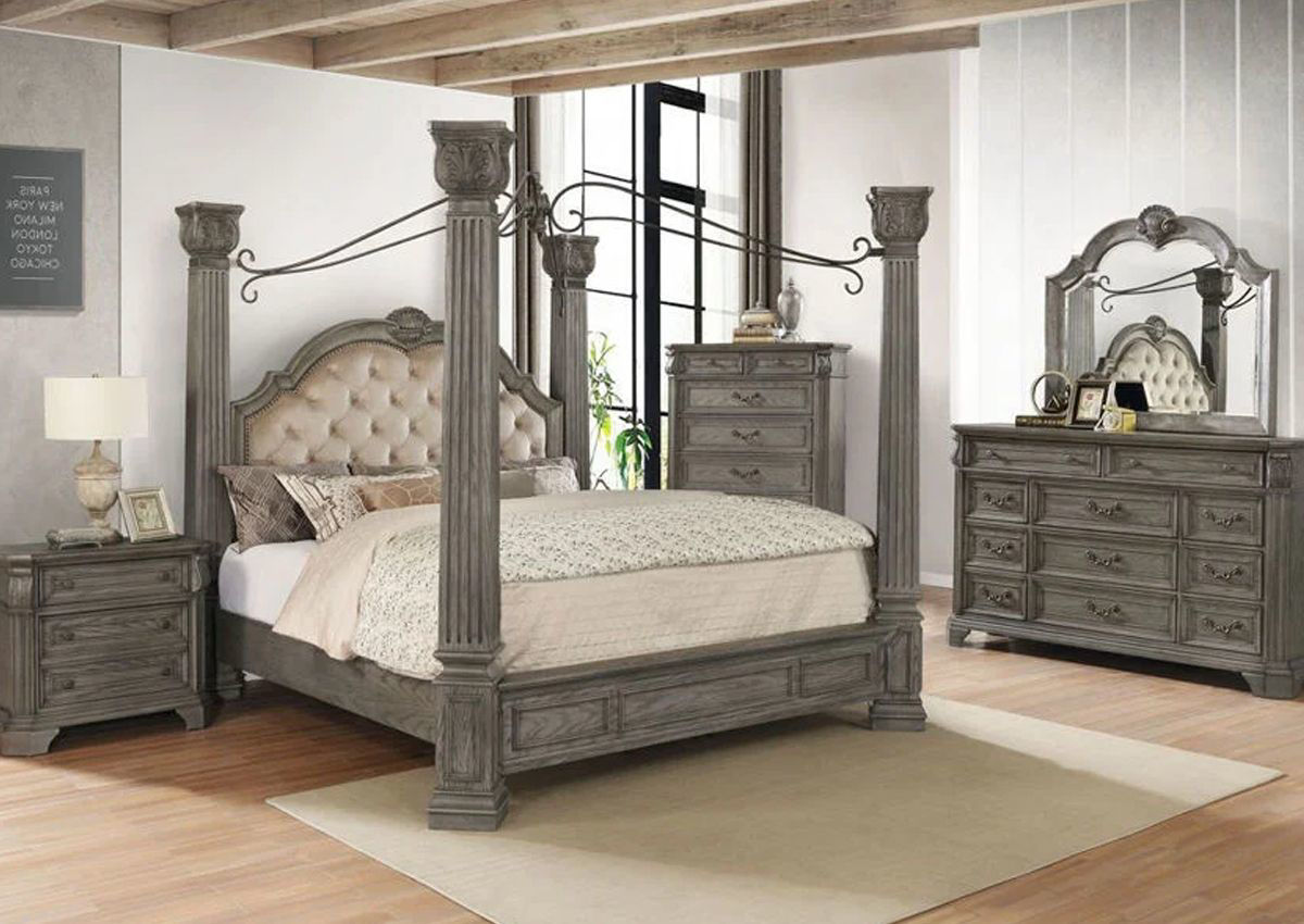 Siena Queen Size Canopy Bedroom Set Gray Home Furniture Plus Bedding