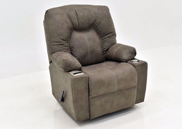 Cranden Rocker Recliner - Brown by Franklin at an Angle | Home Furniture Plus Mattress
