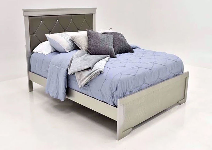 Silver Metallic Amalia Queen Size Upholstered Bed by Crown Mark at an Angle | Home Furniture Plus Mattress