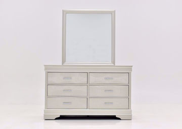 Silver Metallic Amalia Dresser with Mirror by Crown Mark Facing Front | Home Furniture Plus Mattress