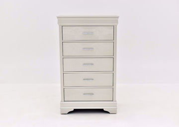 Silver Metallic Amalia Chest of Drawers by Crown Mark Facing Front | Home Furniture Plus Mattress