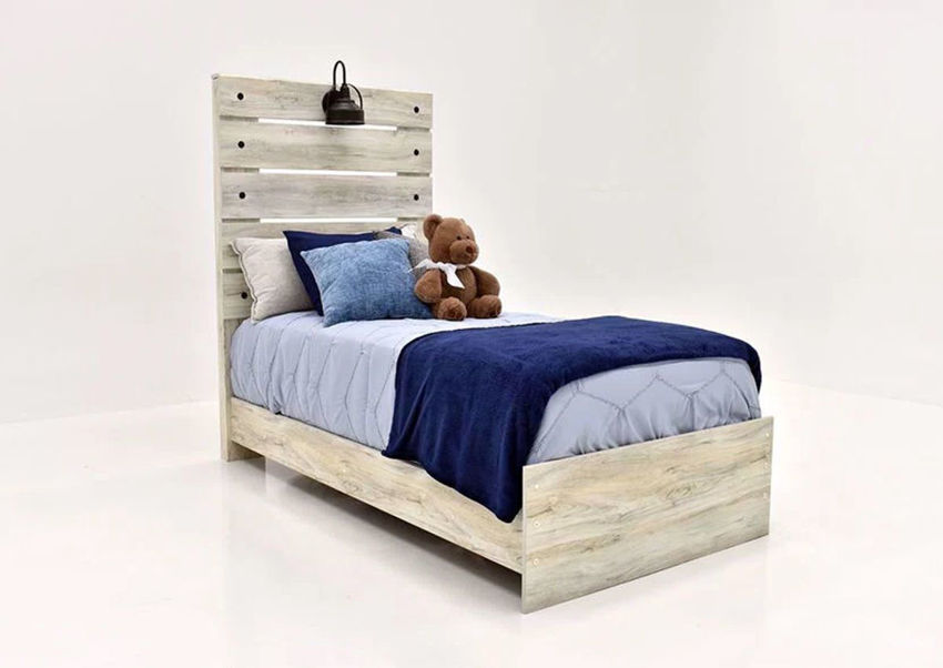 Rustic White Cambeck Twin Size Bed by Ashley Furniture Showing the Angle View | Home Furniture Plus Mattress