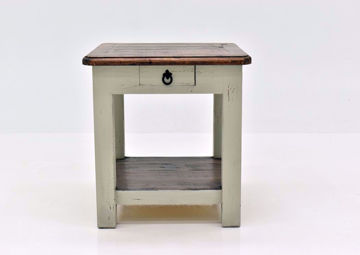 Rustic Gray Sierra End Table by Texas Rustic Facing Front | Home Furniture Plus Mattress