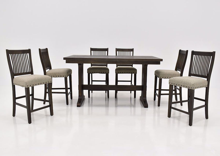 Charleston Counter Height Dining Table Set Brown