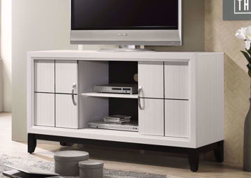 White Ackerson TV Stand by Crownmark in Room | Home Furniture Plus Bedding
