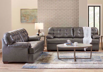 Dark Gray Leather Soft Touch Sofa Set by Lane Home Furnishings in a Room Setting | Home Furniture Plus Bedding