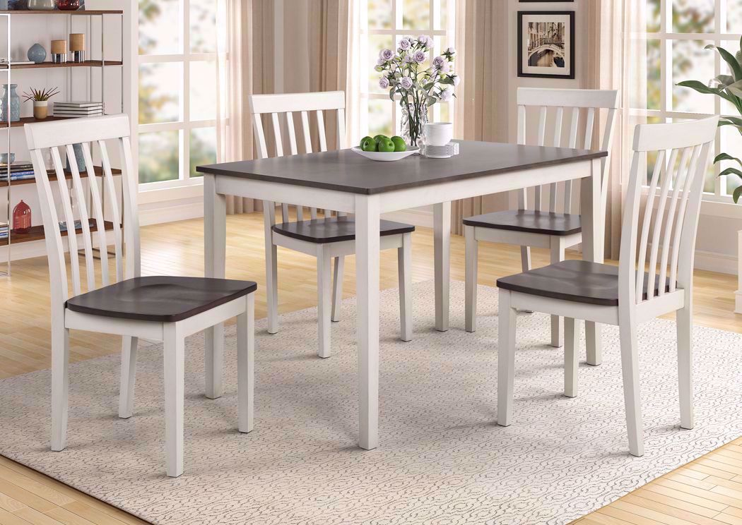 Picture of: Brody 5 Piece Dining Table Set White And Gray Home Furniture Plus Bedding