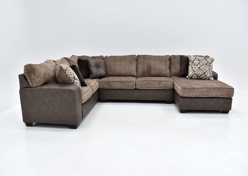Chocolate Brown Abalone Sectional Sofa Right by Ashley Furniture Showing the Front Facing View | Home Furniture Plus Bedding