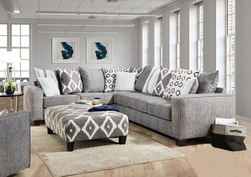 Gray Stonewash Sectional Sofa by Albany Facing Front | Home Furniture Plus Bedding