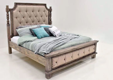 Rustic Gray Charleston Upholstered Queen Bed at an Angle | Home Furniture Plus Mattress