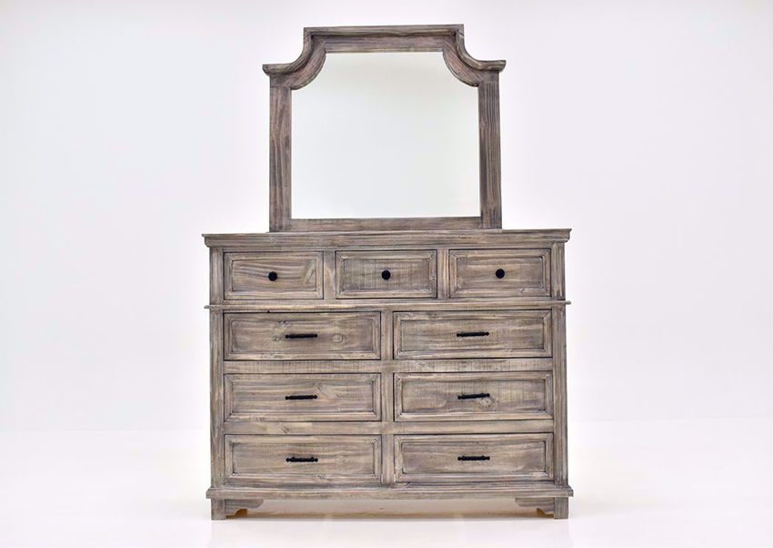 Rustic Gray Charleston Dresser with Mirror by Vintage Furniture Facing Front | Home Furniture Plus Mattress