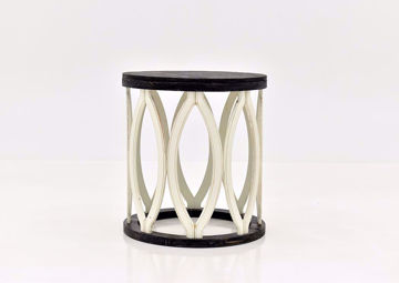 Brown and Off White Fish End Table by Vintage Furniture Facing Front   Home Furniture Plus Mattress