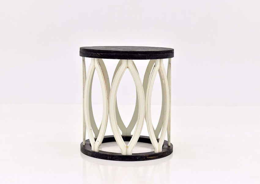 Brown and Off White Fish End Table by Vintage Furniture Facing Front | Home Furniture Plus Mattress