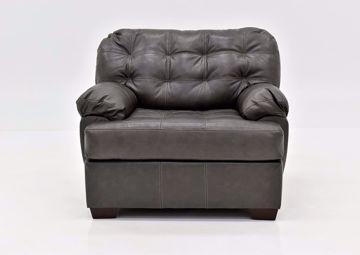 Dark Gray Leather Soft Touch Leather Chair Facing Front | Home Furniture Plus Mattress