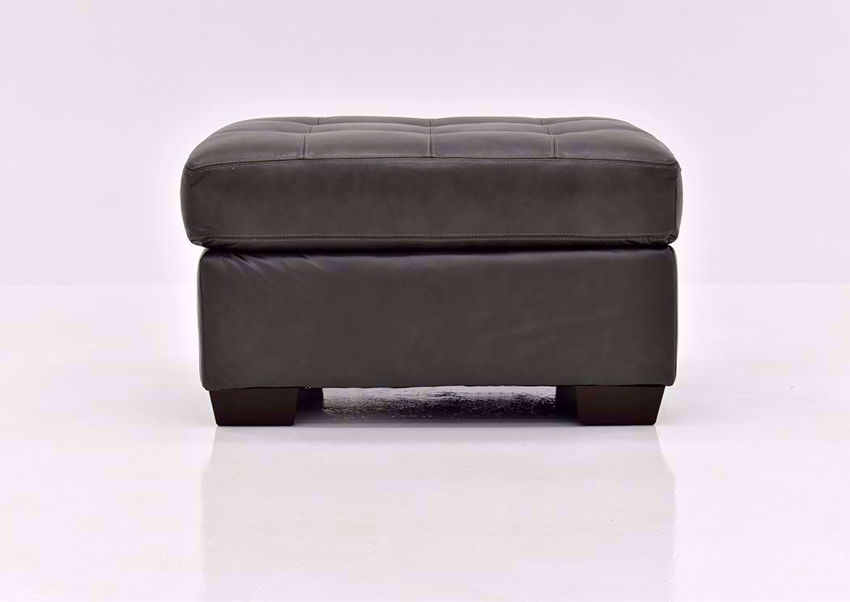 Dark Gray Leather Soft Touch Leather Ottoman by Lane Furnishings Facing Front | Home Furniture Plus Mattress